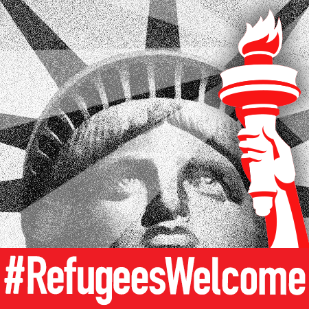 A black-and-white image of the Statue of Liberty's face holding a red-and-white torch with the text #RefugeesWelcome in white at the bottom.