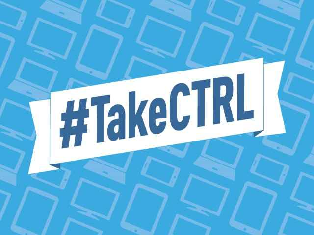 A white banner saying #TakeCTRL in dark blue font against a light blue backdrop patterned with images of computers and smartphones.