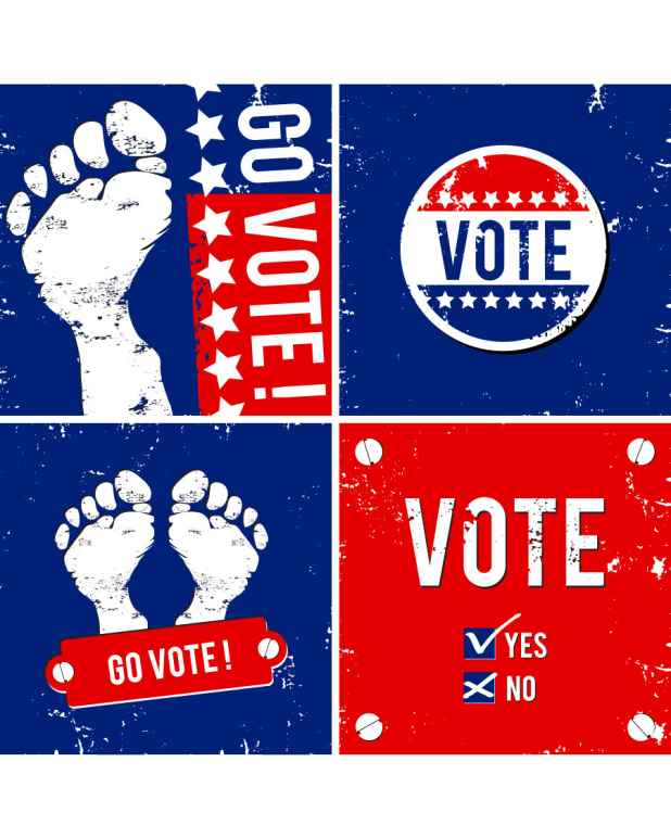 "A collection of red, white, and blue images related to voting: circular ""Vote"" sticker, footprints with ""Go Vote"" written next to them, and a ballot with yes/no checkboxes."